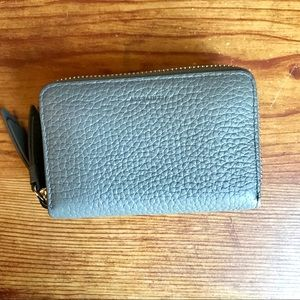 All Saints Grey Leather Zip Wallet
